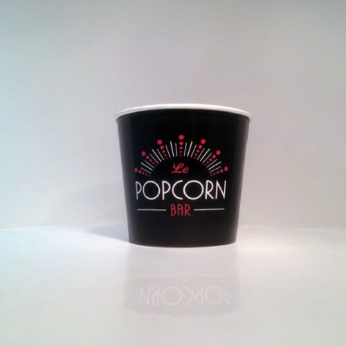 The Single Wall large 22oz, 28oz or 32 oz paper cups are usually used as popcorn tubs or dry warm food servings like chicken nuggets, wings or chicken leg fries. Although for popcorn the light weight folded cardboard popcorn boxes are preferred.