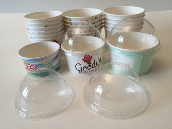 See through dome lids are for 5oz and oz ice cream cups
